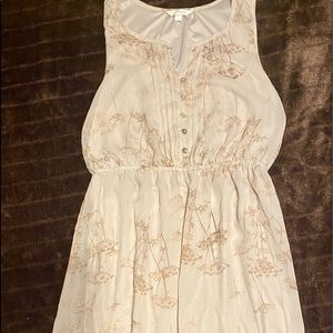 Cream & Tan sleeveless Dress